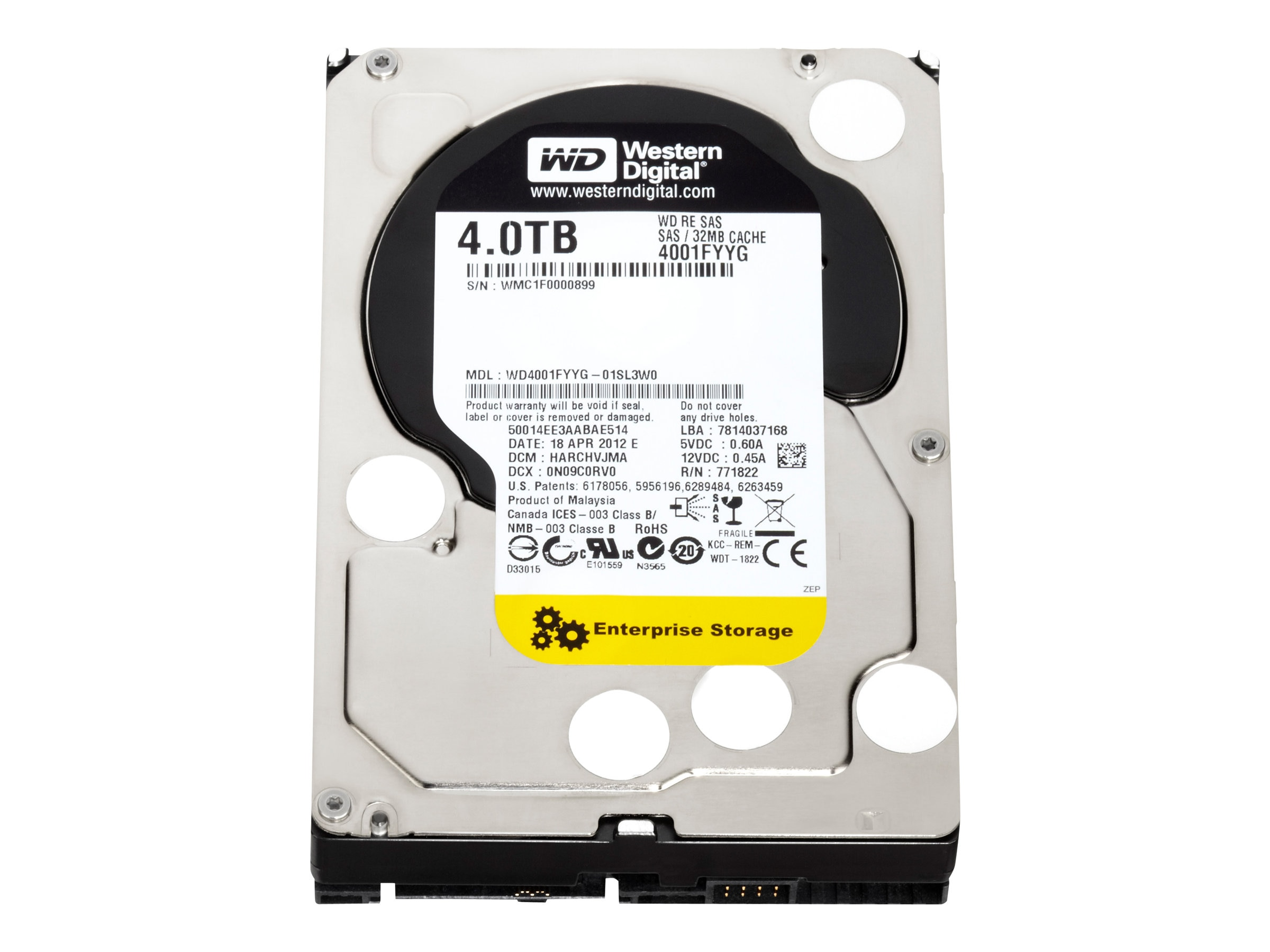 Open Box WD 4TB WD RE SAS 6Gb s 3.5 Internal Hard Drive, WD4001FYYG
