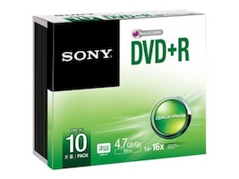 Sony DVD+R Media (10-pack Slim Jewel Cases), 10DPR47SS, 30710994, DVD Media