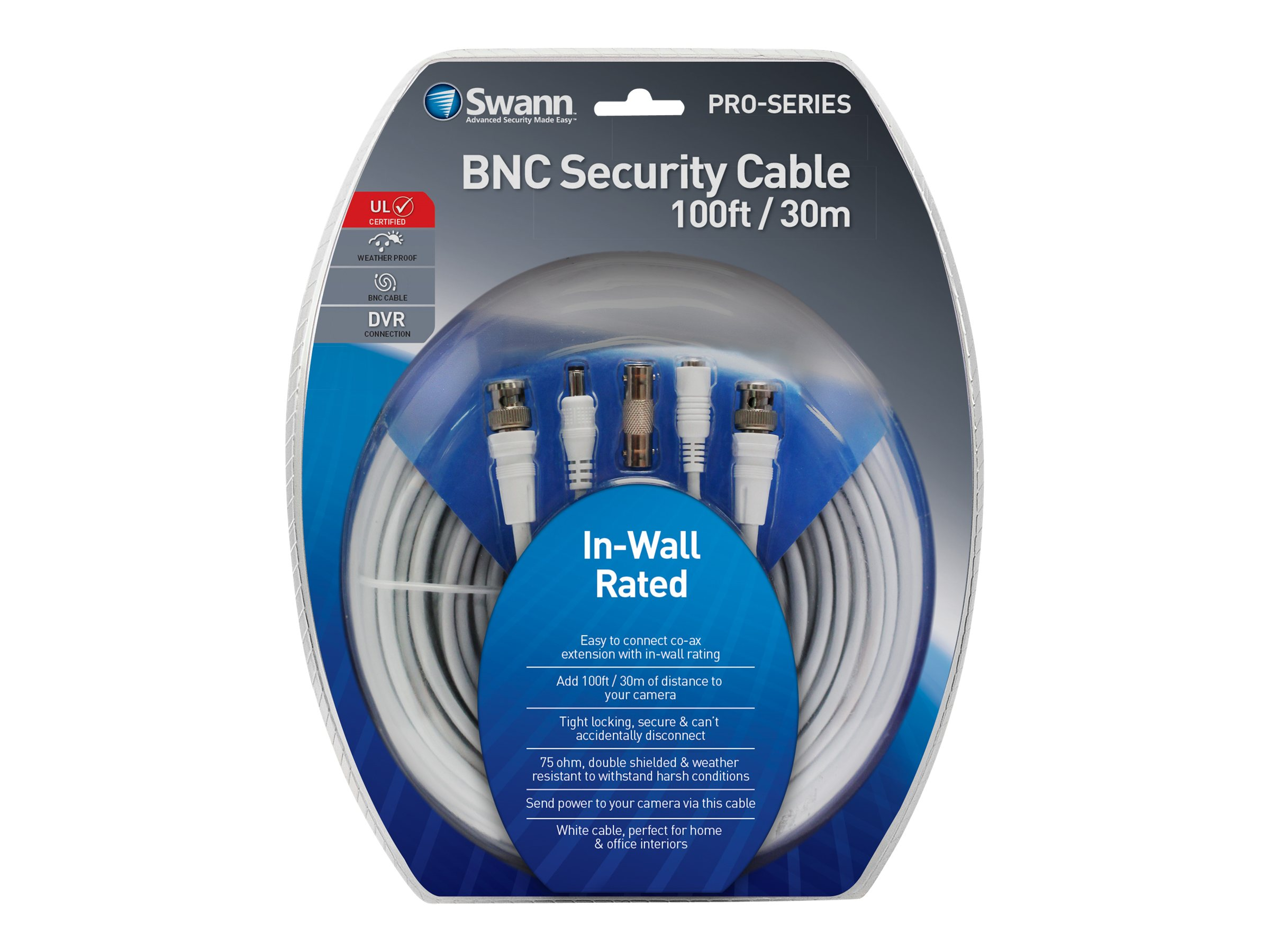 Swann In-Wall Fire Rated BNC Extension Cable, 100ft, SWPRO-30MFRC-GL, 31190118, Cables
