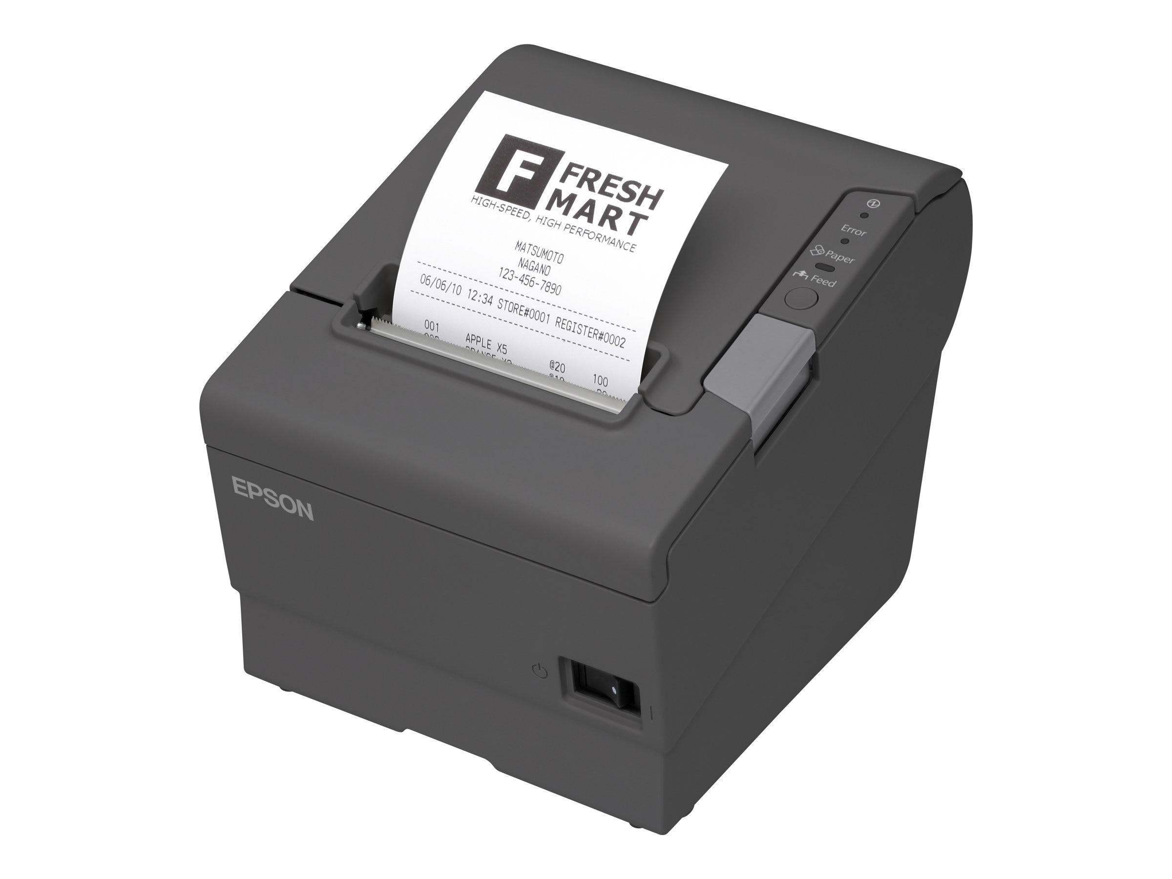 Epson TM-T88V USB Serial POS Printer - Dark Gray w  PS180 Power Supply, C31CA85084