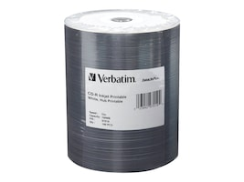 Verbatim 52x 700MB White Inkjet Hub Printable CD-R Media (100-pack Tape Wrap), 97019, 10361846, CD Media