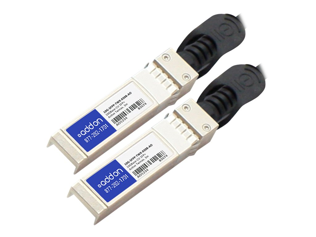 ACP-EP 10GBase-CU SFP+ to SFP+ Direct Attach Active Twinax Cable, 3m, 8-Pack
