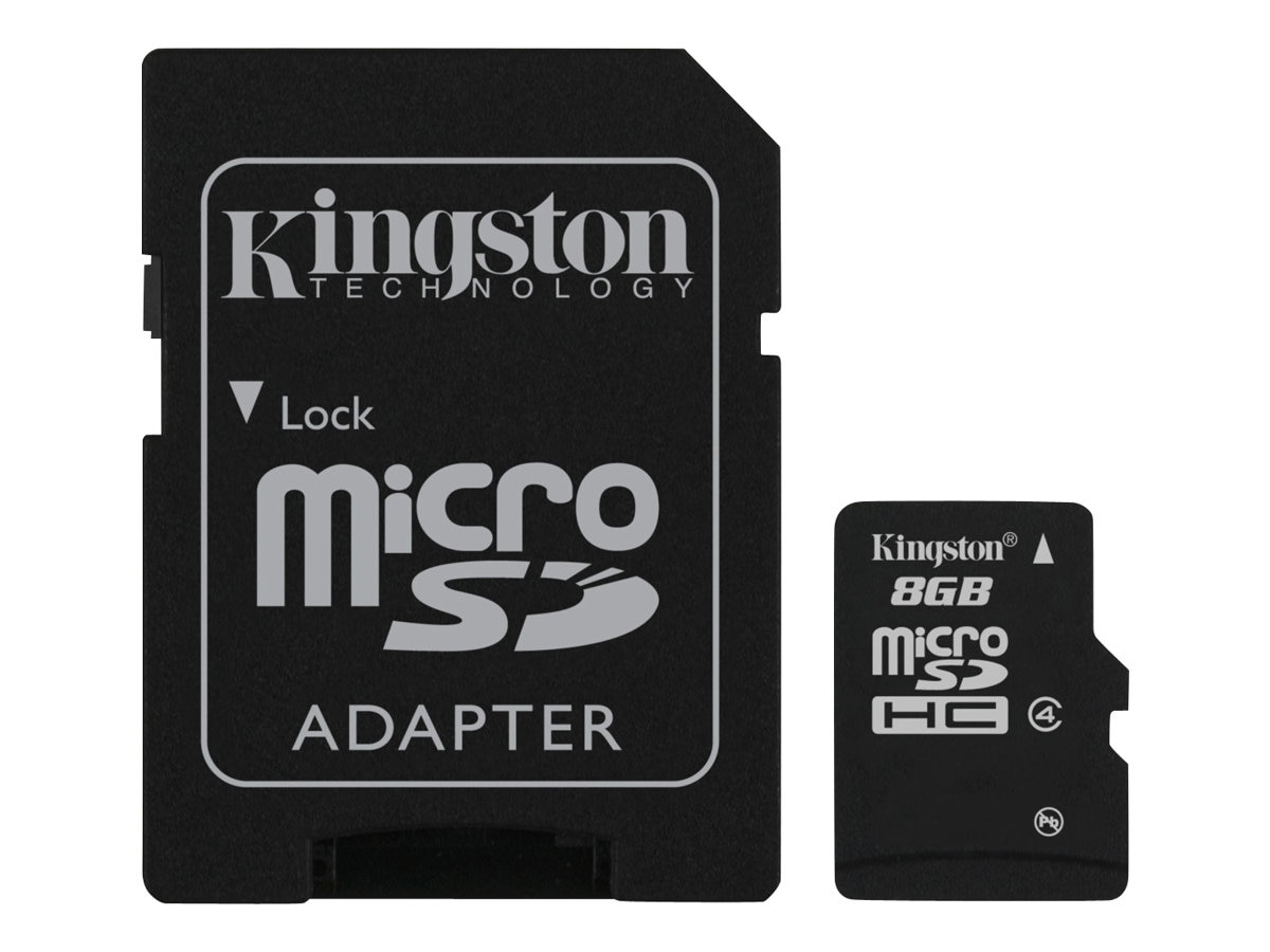Kingston 8GB microSDHC Class 4 Flash Card, SDC4/8GB, 8833269, Memory - Flash