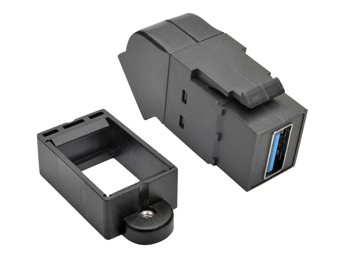Tripp Lite USB 3.0 F F All-in-One Keystone Panel Mount Angled Coupler, Black