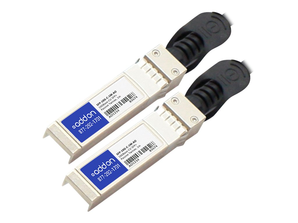 ACP-EP 10GBase-CU SFP+ to SFP+ Direct Attach Passive Twinax Cable, 1m, TAA, SFP-10G-C-1M-AO