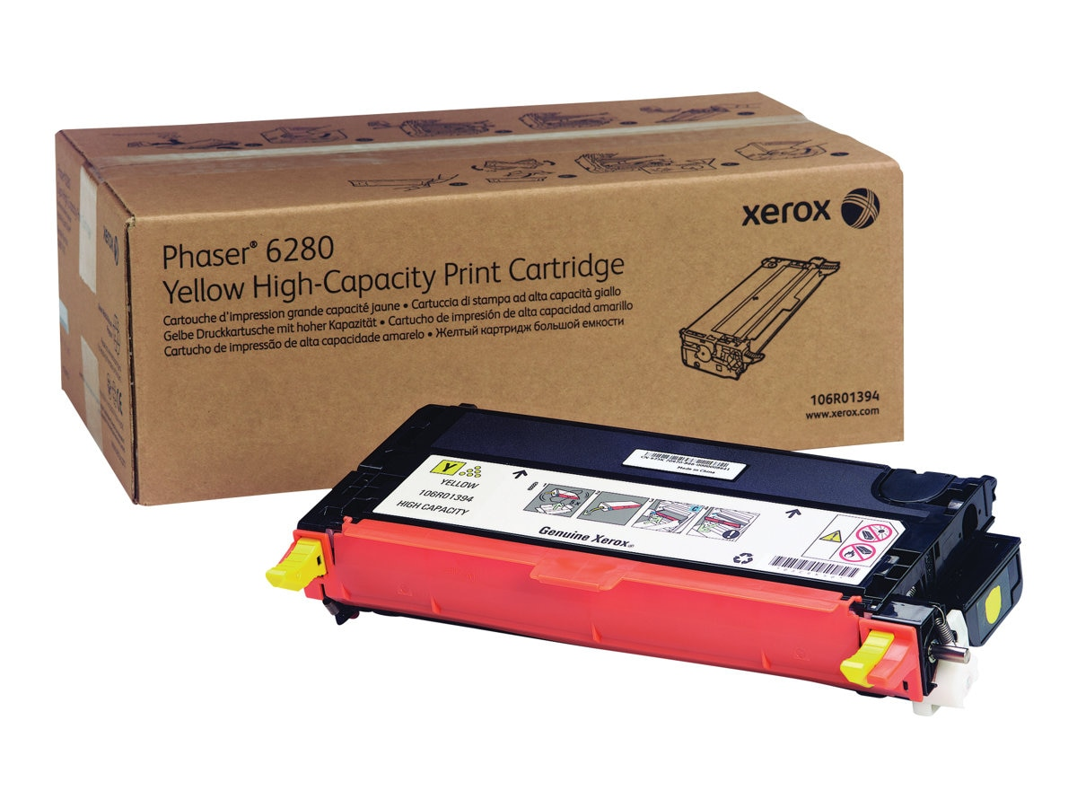 Xerox Yellow High Capacity Print Cartridge for Phaser 6280, 106R01394, 9410031, Toner and Imaging Components