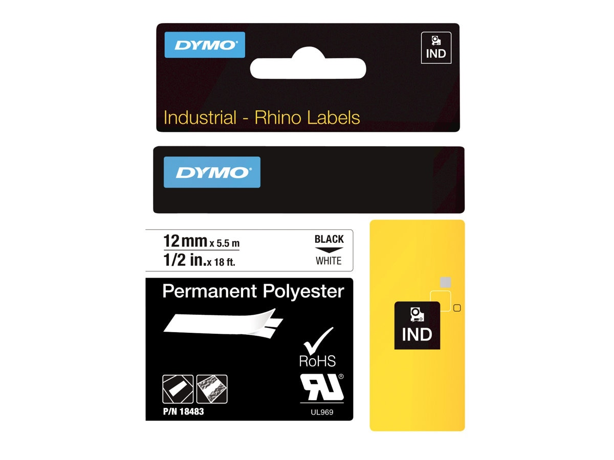 DYMO RhinoPRO Permanent Polyester Tape 1 2 x 18', 18483, 4821236, Paper, Labels & Other Print Media