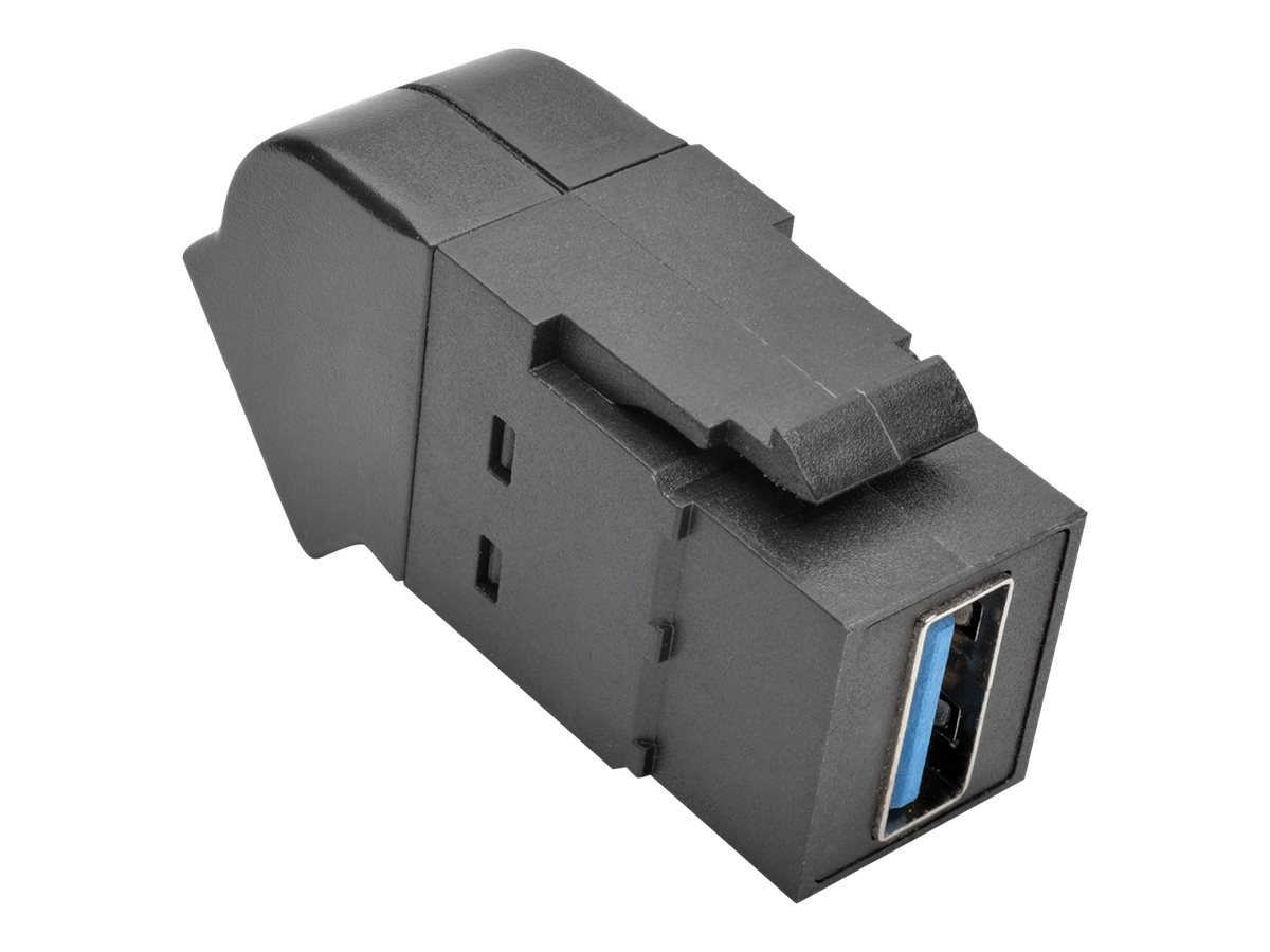 Tripp Lite USB 3.0 F F All-in-One Keystone Panel Mount Angled Coupler, Black, U325-000-KPA-BK