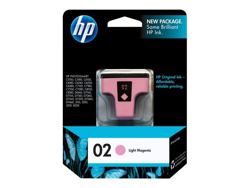 HP 02 (C8775WN) Light Magenta Original Ink Cartridge, C8775WN#140, 7885420, Ink Cartridges & Ink Refill Kits