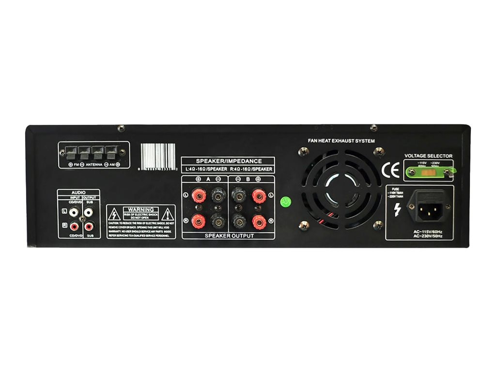 Pyle 500 Watt Stereo Receiver AM-FM Tuner USB SD iPod Docking Station & Subwoofer Control, PT4601AIU
