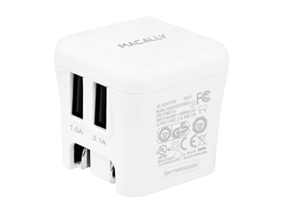 Macally 2-Port USB Charger w  Rotatable Wall Plug, HOME15U, 15100928, Battery Chargers