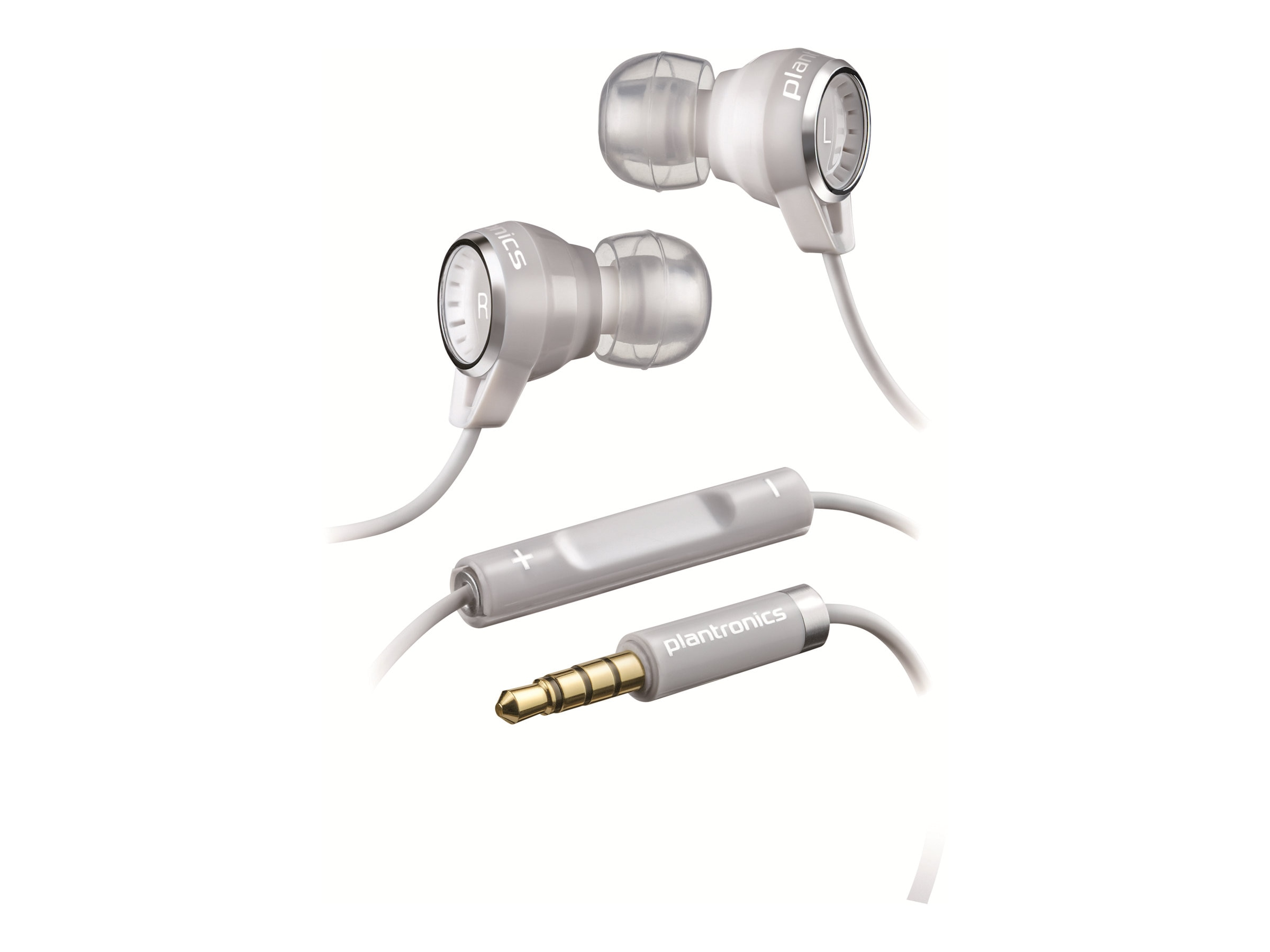 Plantronics Stereo Headphones with Mic for iPhone MP3, White, 86110-01, 14543065, Headsets (w/ microphone)