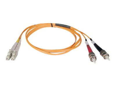 Tripp Lite Fiber Optic Cable, LC-ST, 50 125, Duplex Multimode, 10m, N518-10M, 5623119, Cables