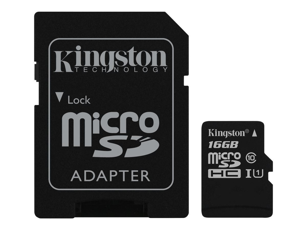 Kingston 16GB UHS-I microSDHC Flash Memory Card with SD Adapter, Class 10, SDC10G2/16GB