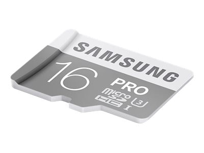 Samsung 16GB Pro Micro SDHC U3 Flash Memory Card with SD Adapter, Class 10, MB-MG16EA/AM