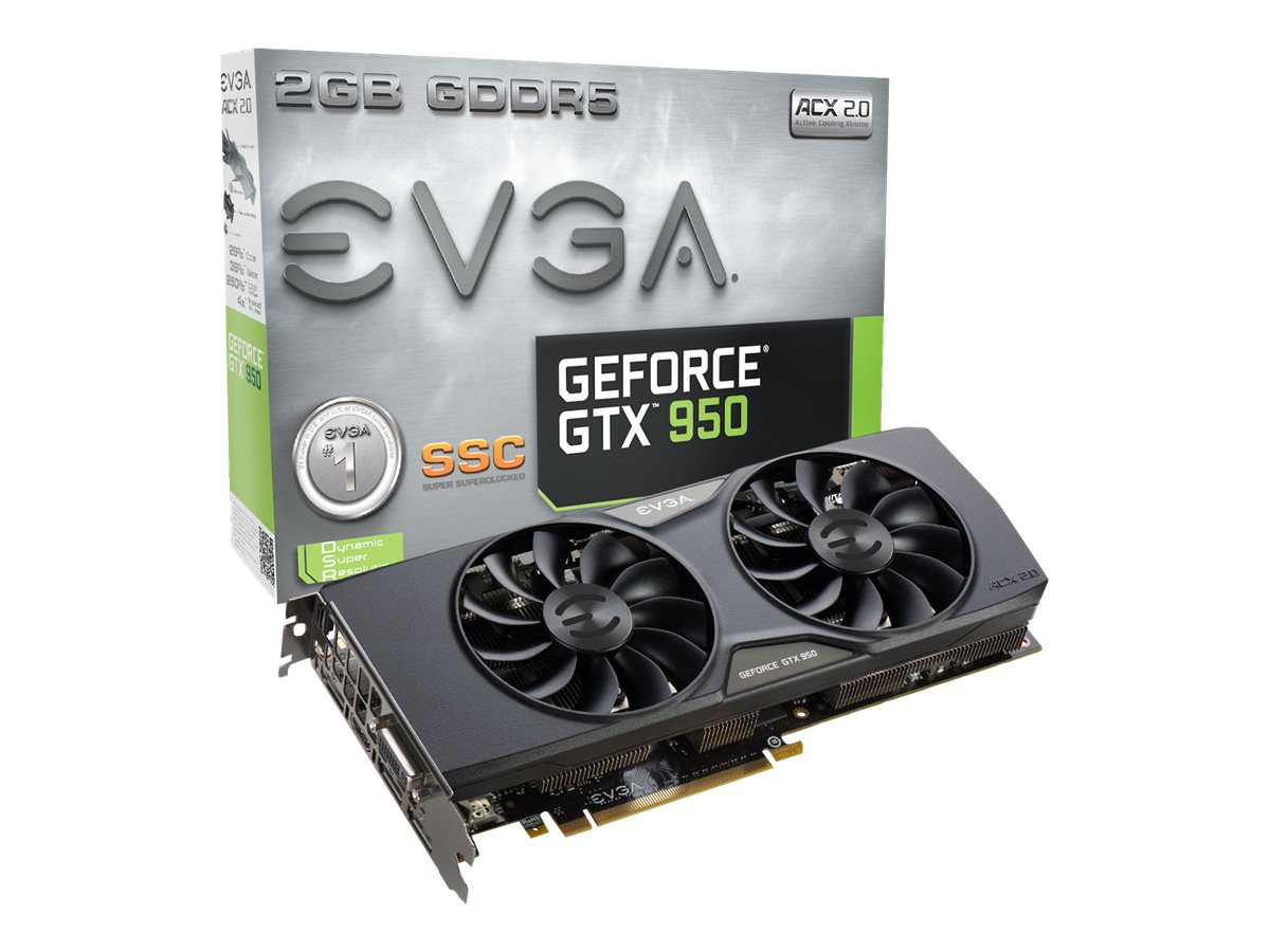 eVGA GeForce GTX 950 PCIe SuperSuperClocked Graphics Card, 2GB GDDR5, 02G-P4-2957-KR