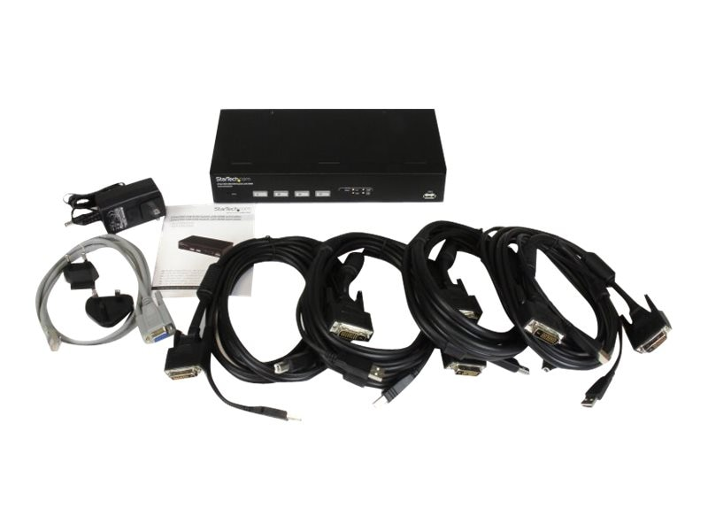 StarTech.com 4-Port USB DVI KVM Switch with DDM Fast Switching Technology and Cables, SV431DVIUDDM