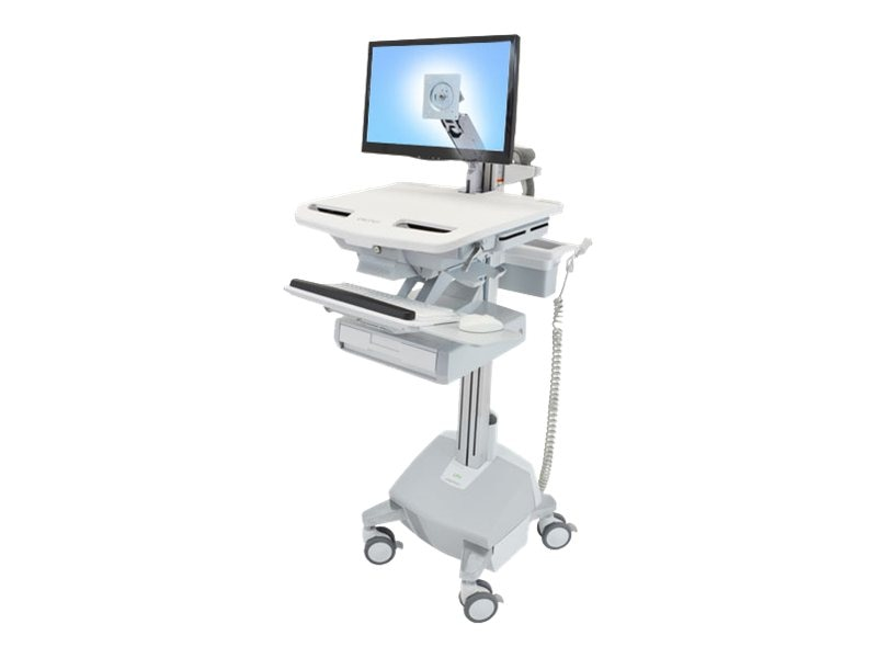 Ergotron StyleView Cart with LCD Pivot Life Powered, 1 Drawer, SV42-3312-1, 15053164, Computer Carts - Medical