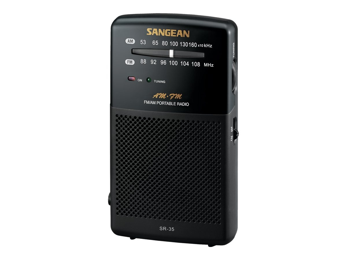 Sangean AM FM Analog Tuning Pocket, SR-35, 12876181, Portable Stereos
