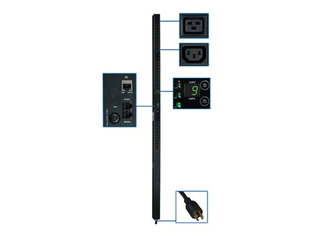 Tripp Lite PDU 3-Phase Monitored 208V 5.7kW L15-20P (30) C13 (6) C19 0U RM, PDU3VN10L1520, 12428215, Power Distribution Units