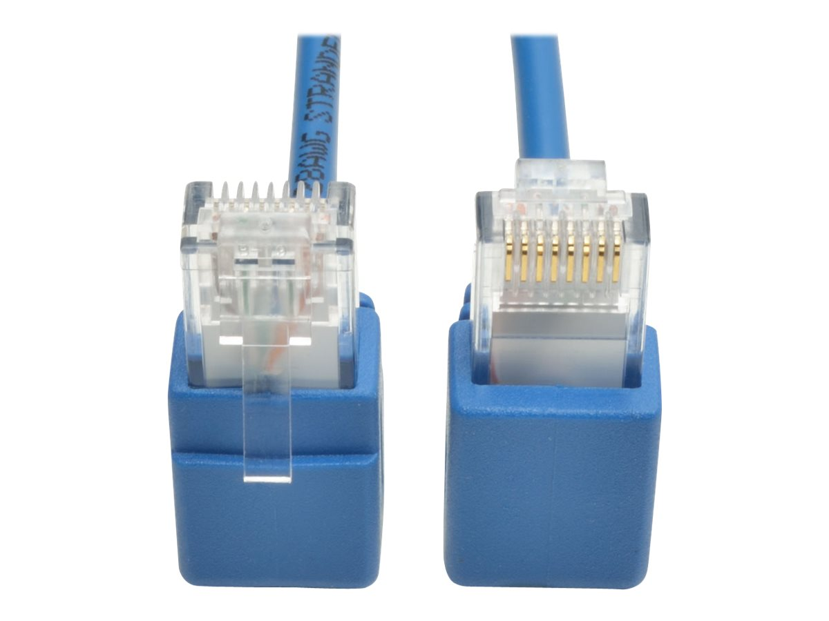 Tripp Lite Cat6 Gigabit Snagless Molded Slim UTP Patch Cable with Right-Angle Connectors, Blue, 1ft, N201-SR1-BL