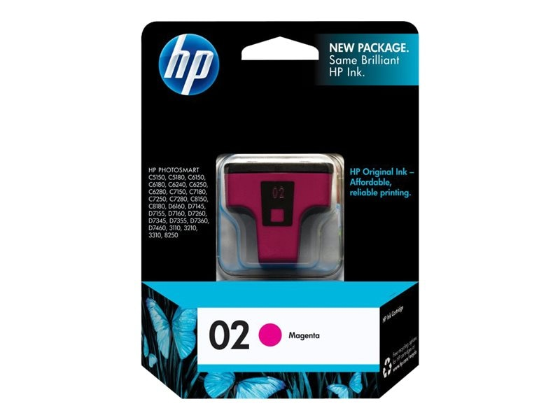 HP 02 (C8772WN) Magenta Original Ink Cartridge, C8772WN#140, 7333220, Ink Cartridges & Ink Refill Kits