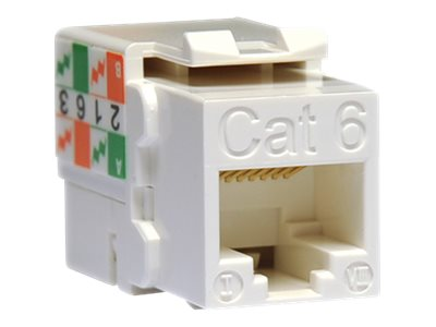 Tripp Lite Cat6 Cat5e RJ-45 110 Punch Down Keystone Jack, White, N238-001-WH