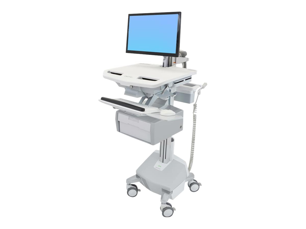 Ergotron StyleView Cart with LCD Arm, LiFe Powered, 1 Tall Drawer, SV44-12B2-1