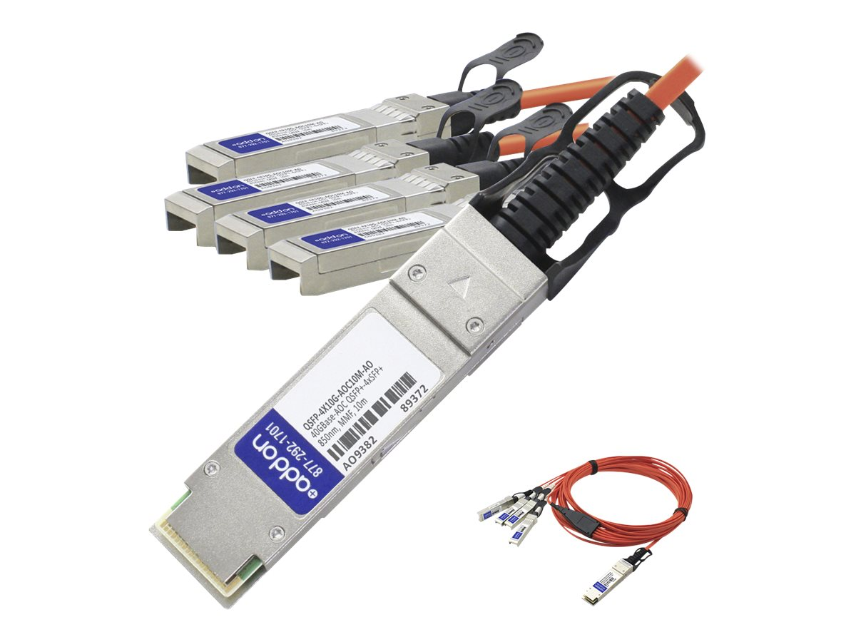 ACP-EP 40GBase-AOC QSFP+ to 4xSFP+ Direct Attach Cable for Cisco, 10m, QSFP-4X10G-AOC10M-AO