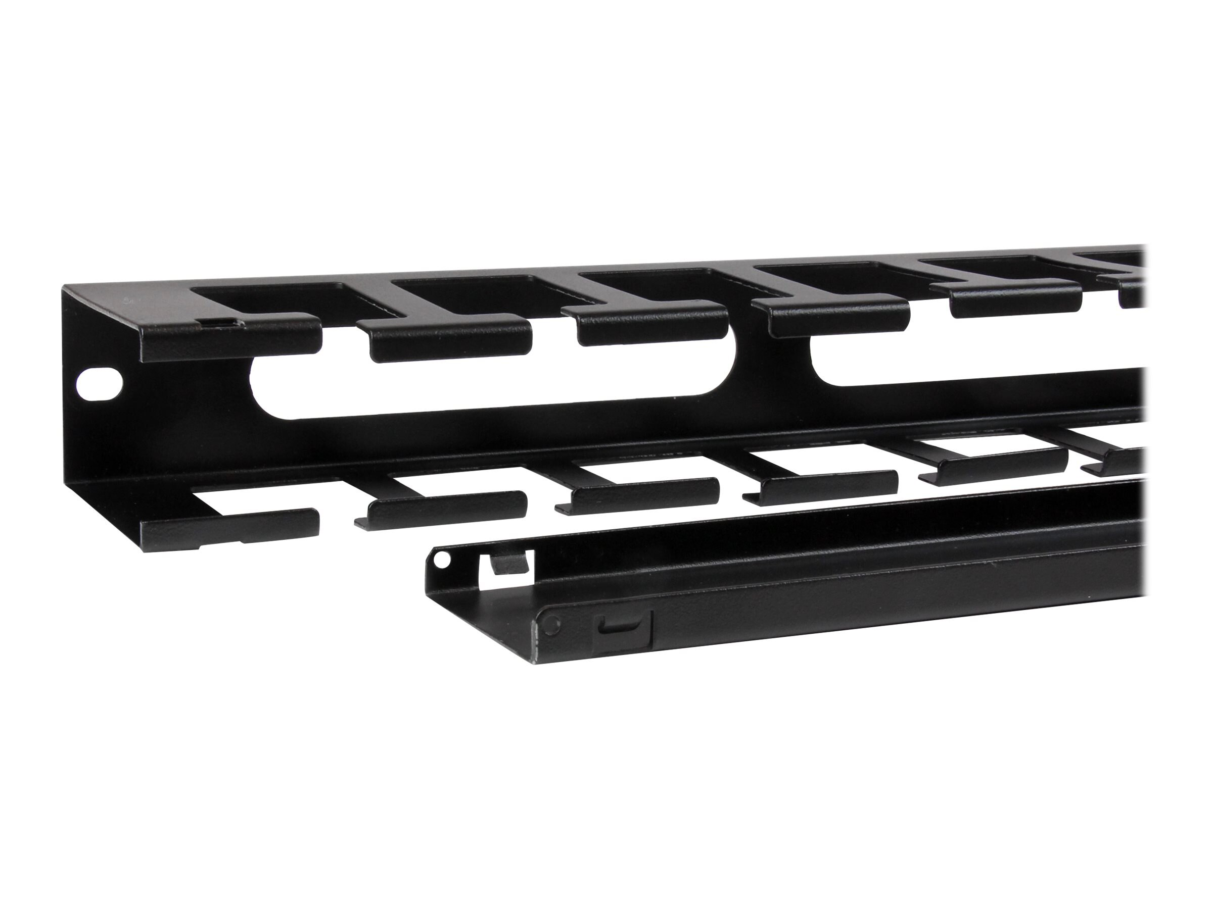 StarTech.com 1U Horizontal Finger Duct Rack Cable Management Panel with Cover, CMDUCT1UX