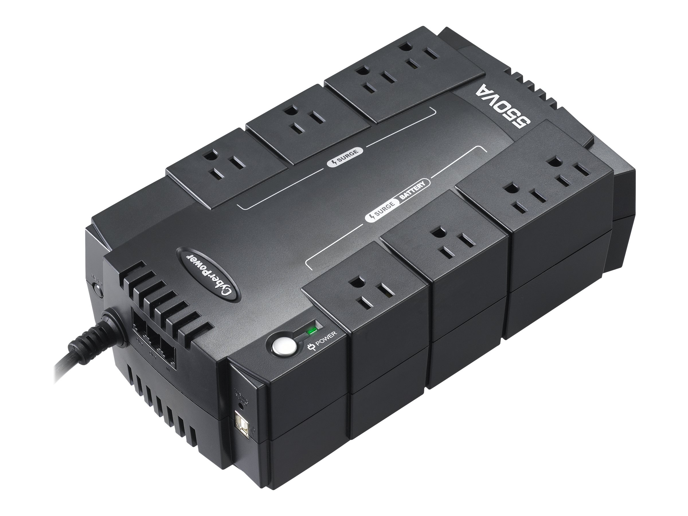 CyberPower 550VA Standby Green UPS (8) 5-15R Outlets USB, Management Software, CP550SLG