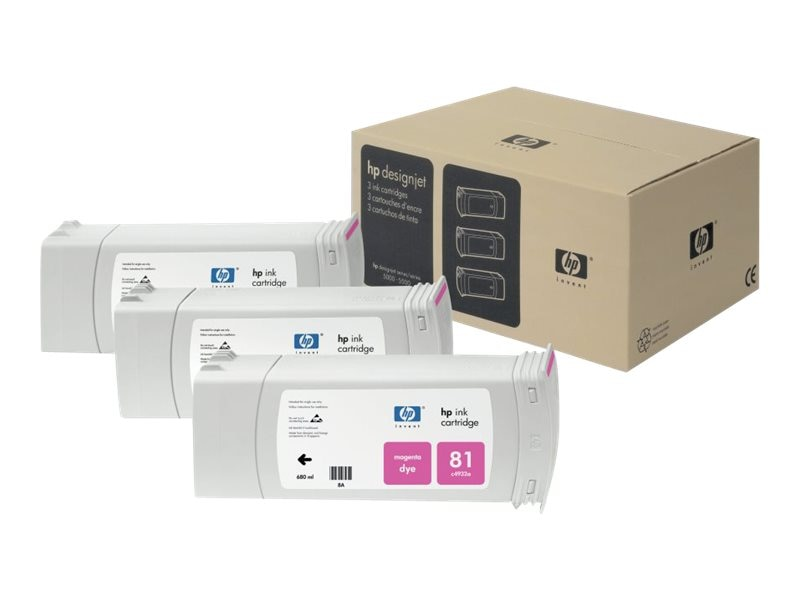 HP 81 Magenta Ink Cartridge (3-pack), C5068A, 469228, Ink Cartridges & Ink Refill Kits