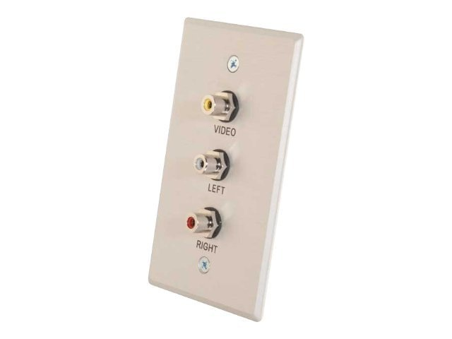 C2G Composite Video and RCA Stereo Audio Pass Through Single Gang Wall Plate, Brushed Aluminum, 41013, 21485191, Premise Wiring Equipment