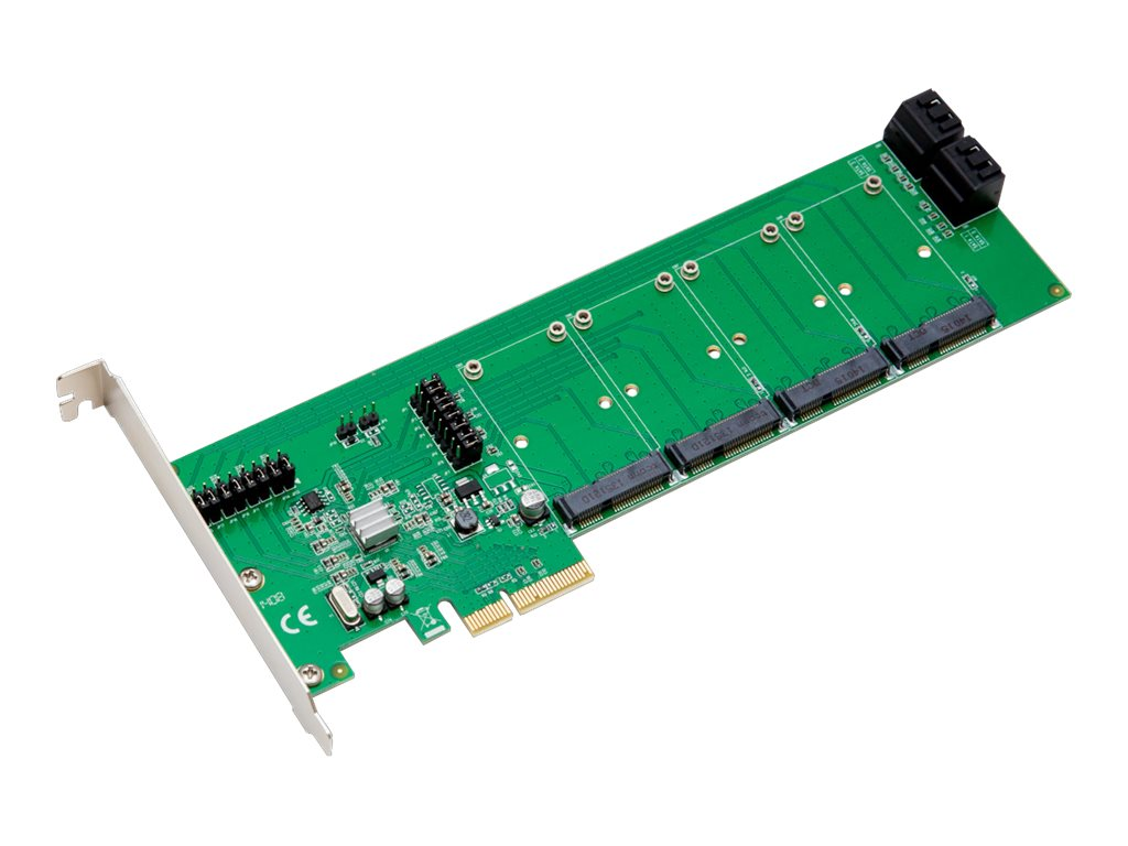 Global Marketing Partners 4-Port mSATA SATA PCIe Controller Card, SD-PEX40079, 17450770, Controller Cards & I/O Boards