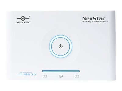 Vantec NexStar SuperSpeed 2.5 3.5 SATA to USB 3.0 Dual Bay Hard Drive Dock - White, NST-D400S3