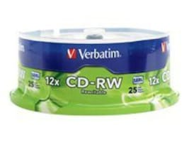 Verbatim 12x 700MB 80min Branded CD-RW Media (25-pack Spindle), 95155, 5870486, CD Media