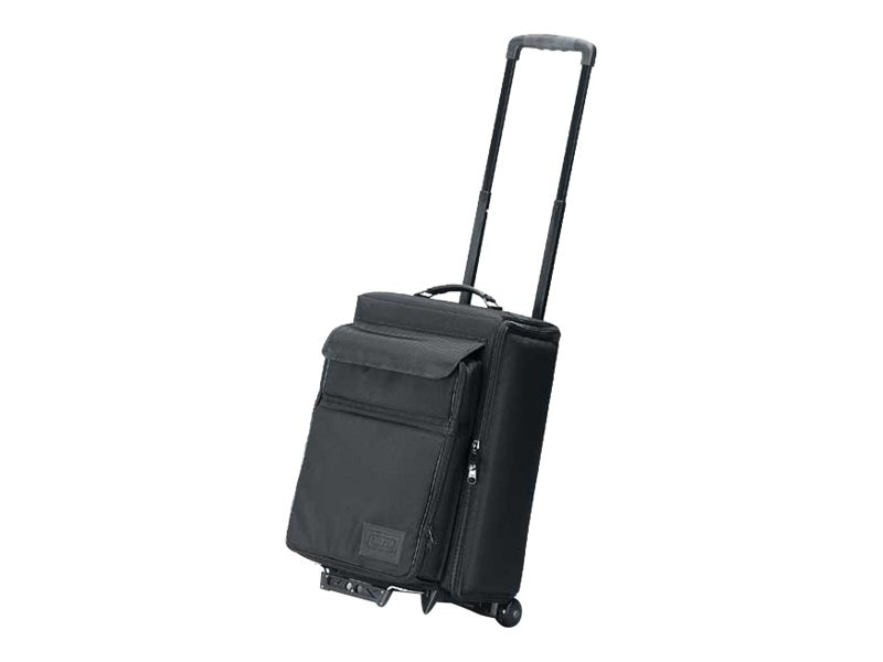 Jelco Padded Hard Side Travel Case for Projector with Removable Laptop Case, Wheeled, Black, 15x20x29