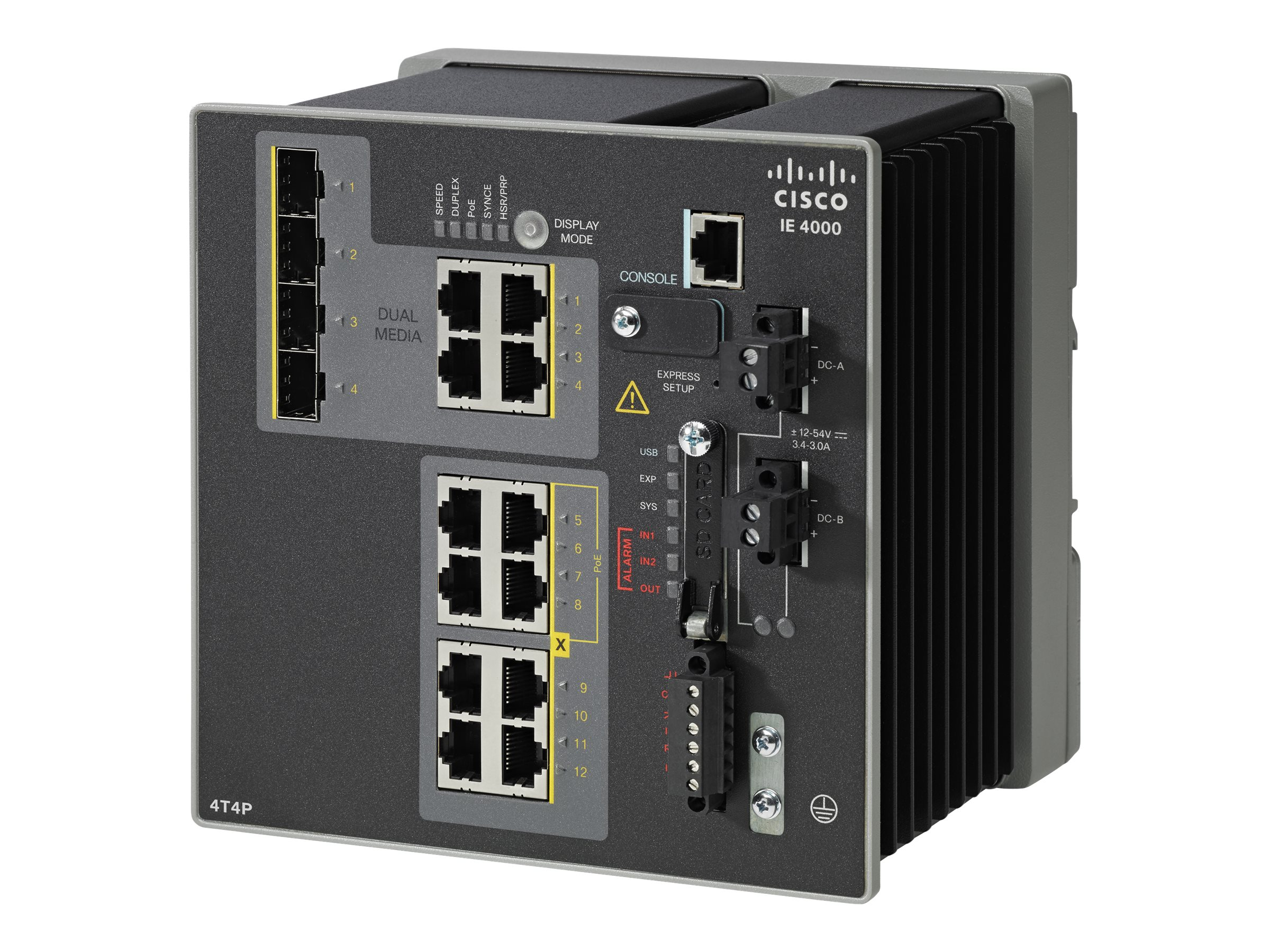 Cisco IE-4000-4T4P4G-E 12-Port (4x4G Uplink, 4xRJ-45, 4xPoE) Industrial Ethernet Switch