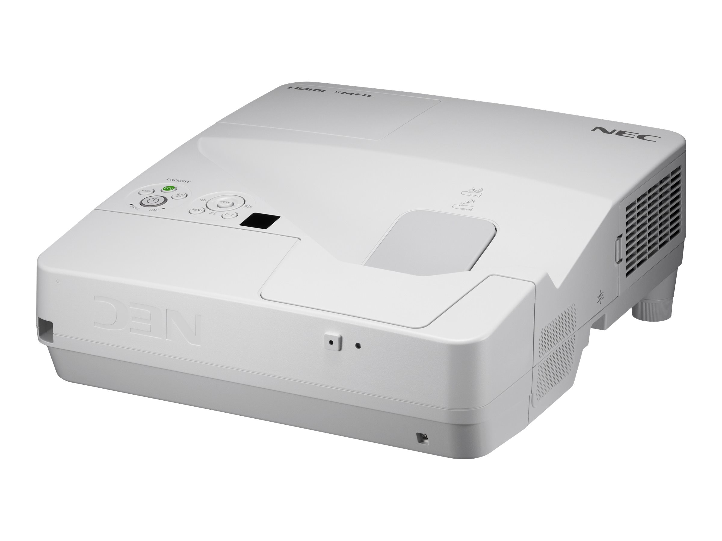 NEC UM351W Ultra Short Throw LCD Projector, 3500 Lumens, White, NP-UM351W