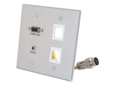 C2G RapidRun Double Gang Integrated HD15 3.5mm (2) Keystone Wall Plate, Brushed Aluminum