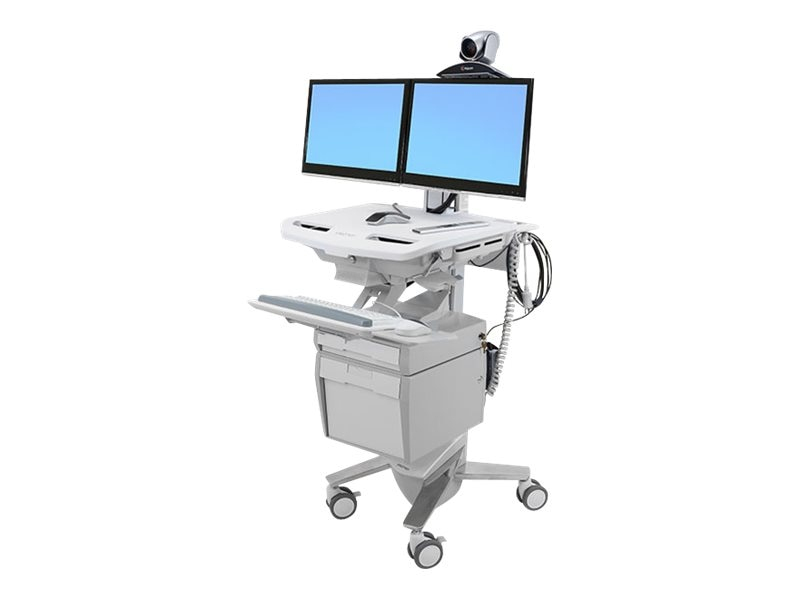 Ergotron StyleView Telepresence Cart, Dual Monitor, SV43-56E0-1, 18180927, Computer Carts - Medical
