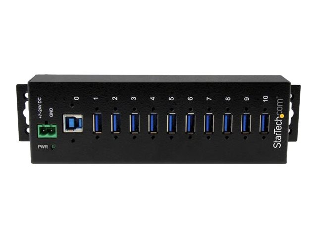 StarTech.com 10-Port Industrial USB 3.0 Metal Hub w ESD & Surge Protection, ST1030USBM