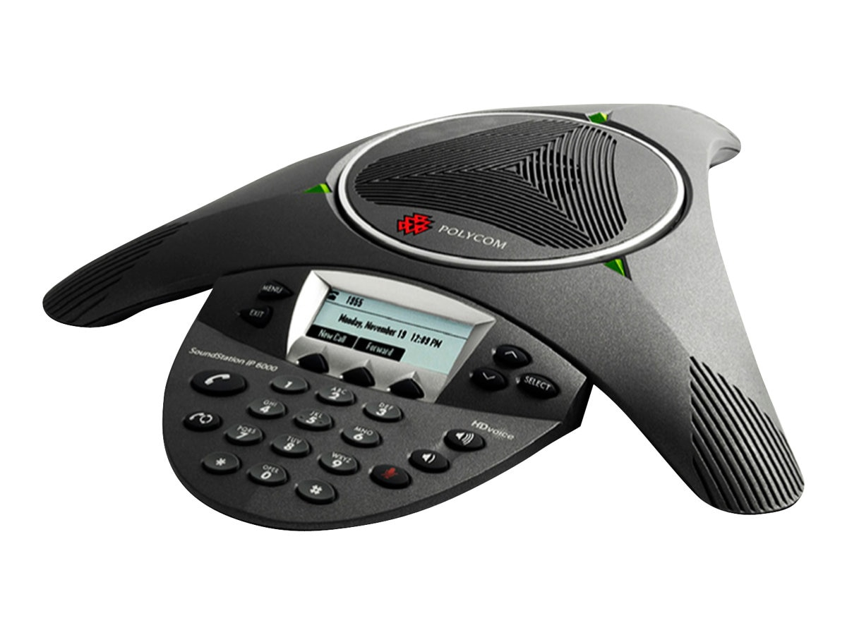 Polycom SoundStation IP 6000 SIP Conferencing Phone with PoE and AC Power Supply, 2200-15660-001, 8548695, VoIP Phones