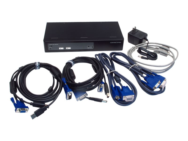 Connectpro 2-Port USB VGA KVM Switch w  DDM 2-Monitor Support for Multi-Displays