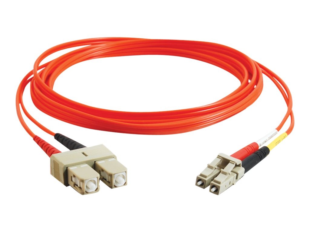C2G Fiber Optic Patch Cable, LC-SC, 62.5 125, Duplex Multimode, Orange, 2m, 33155