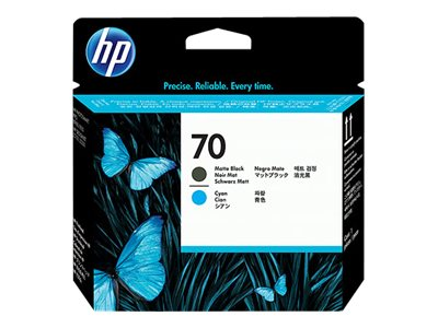 HP 70 Matte Black & Cyan Printhead (1 Printhead), C9404A, 7163603, Ink Cartridges & Ink Refill Kits