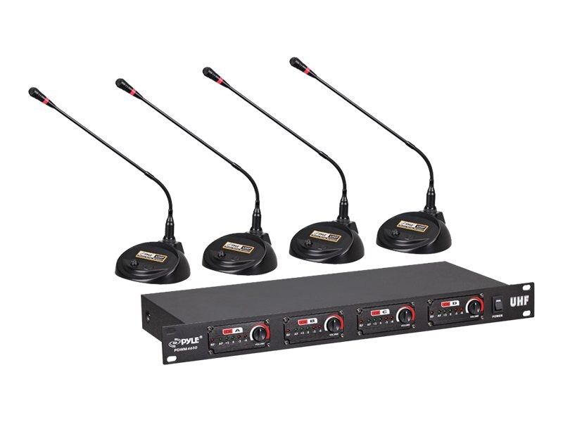 Pyle 4-Channel Conference Wireless Microphone System, Rack Mount