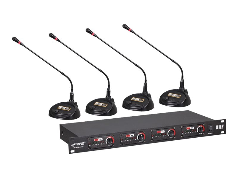 Pyle 4-Channel Conference Wireless Microphone System, Rack Mount, PDWM4650, 15534857, Music Hardware