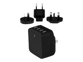 StarTech.com 4-Port USB Wall Charger, International Travel, 34W 6.8A, Black, USB4PACBK, 32299844, Battery Chargers