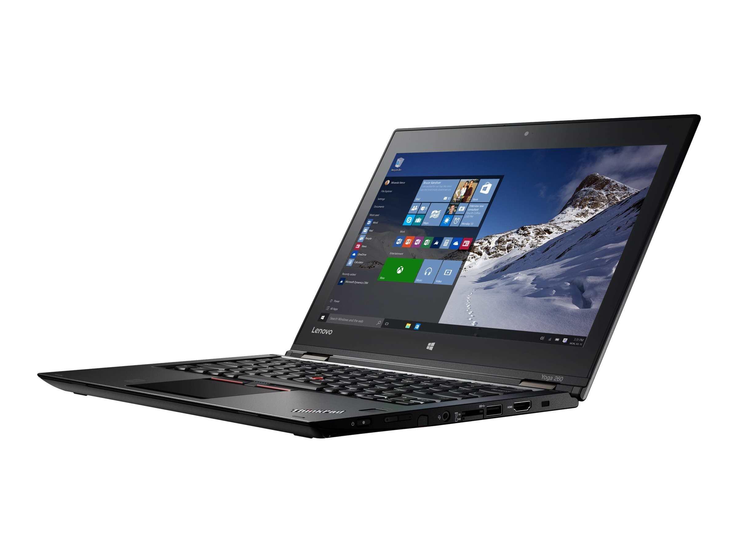 Lenovo TopSeller ThinkPad Yoga 260 Core i7-6500U 2.5GHz 8GB 256GB OPAL2 ac BT FR WC 4C 12.5 FHD MT W10P64, 20FD002CUS, 31221295, Notebooks - Convertible